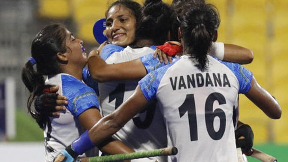 File image of players of Indian women's hockey team celebrate after scoring a goal.
