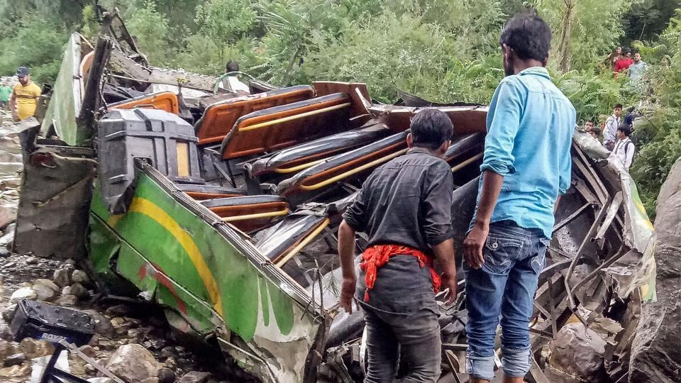 The death toll in Thursday's bus accident in Kullu climbed to 45 after a critically injured woman succumbed to her injuries at Post Graduate Institute of Medical Education and Research (PGIMER), Chandigarh on Saturday. The deceased was identified as Tara Devi, 42, a resident of Chehni village in Banjar sub-division of Kullu. (PTI File)