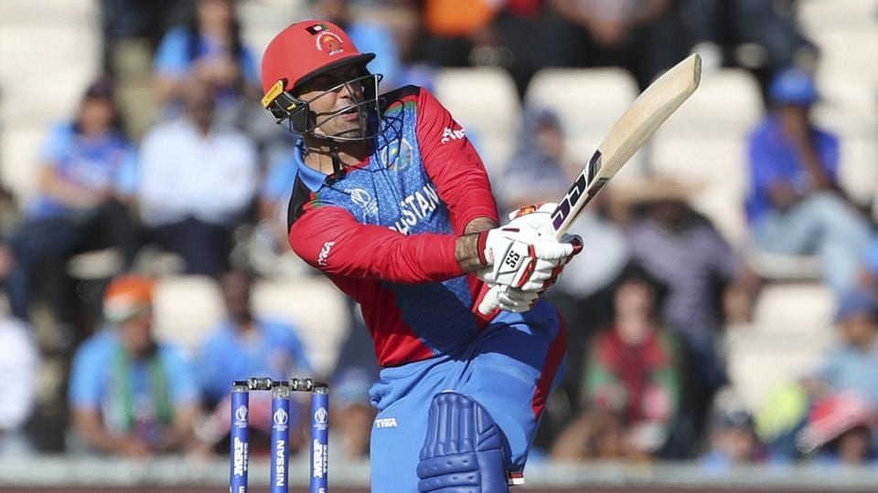 Afghanistan's Mohammad Nabi bats during the Cricket World Cup match between India and Afghanistan.