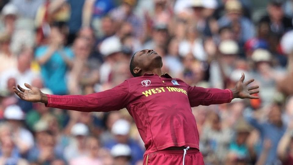 West Indies' Sheldon Cottrell celebrates taking the wicket of New Zealand's Tom Latham  (Action Images via Reuters)