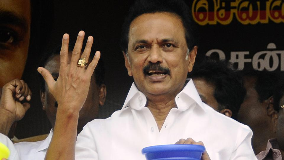 DMK President MK Stalin  during a protest  inChennai against the Tamil Nadu government  demanding a solution to teh water crissi in the state.