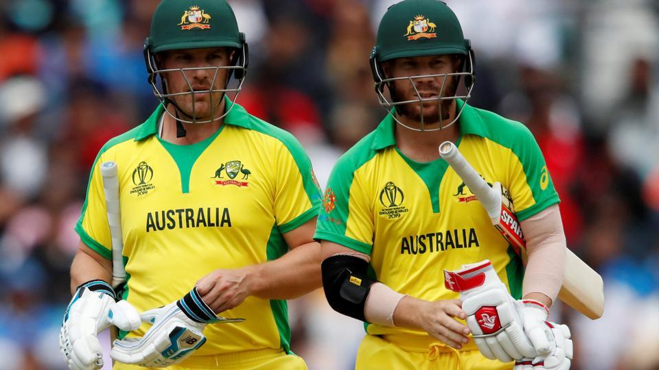 Australia's Aaron Finch and David Warner during the match .