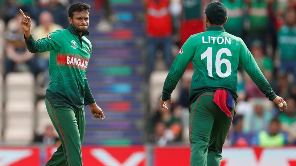 Bangladesh's Shakib Al Hasan celebrates after taking the wicket of Afghanistan's Mohammad Nabi. (Action Images via Reuters)