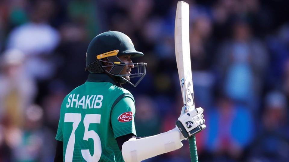 Bangladesh's Shakib Al Hasan celebrates his century.