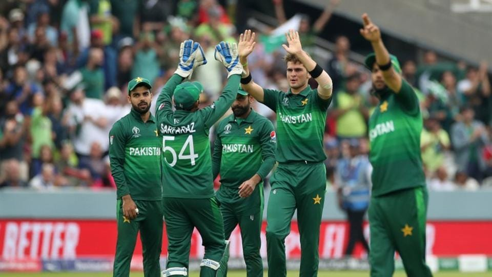 Pakistan's Shaheen Afridi celebrates taking the wicket of South Africa's David Miller