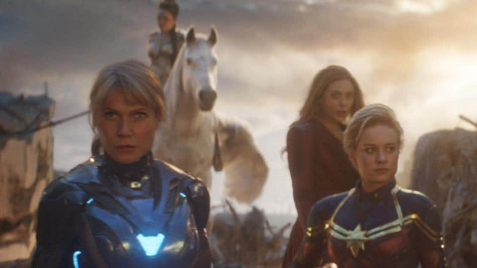 Pepper Potts in Rescue Suit (Gwyneth Paltrow), Valkyrie (Tessa Thompson), Scarlet Witch (Elizabeth Olsen), Captain Marvel (Brie Larson), Mantis (Pom Klementieff) and Shuri (Letitia Wright) in a still from Avengers: Endgame.