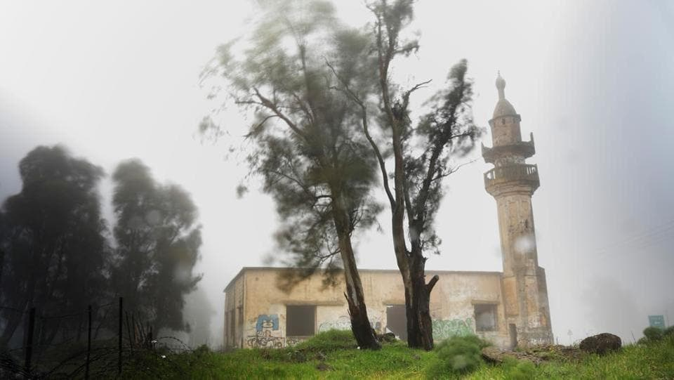 An abandoned mosque is seen on a rainy morning in the Golan Heights, in territory that Israel captured from Syria and occupied in the 1967 Middle East war. Until 1967 a Syrian village inhabited by Circassians stood near the site, which now lies just 5km on the Israeli side of the United Nations-monitored 'Area of Separation' that divides Israeli and Syrian military forces under a 1974 ceasefire arrangement. (Ronen Zvulun / REUTERS)