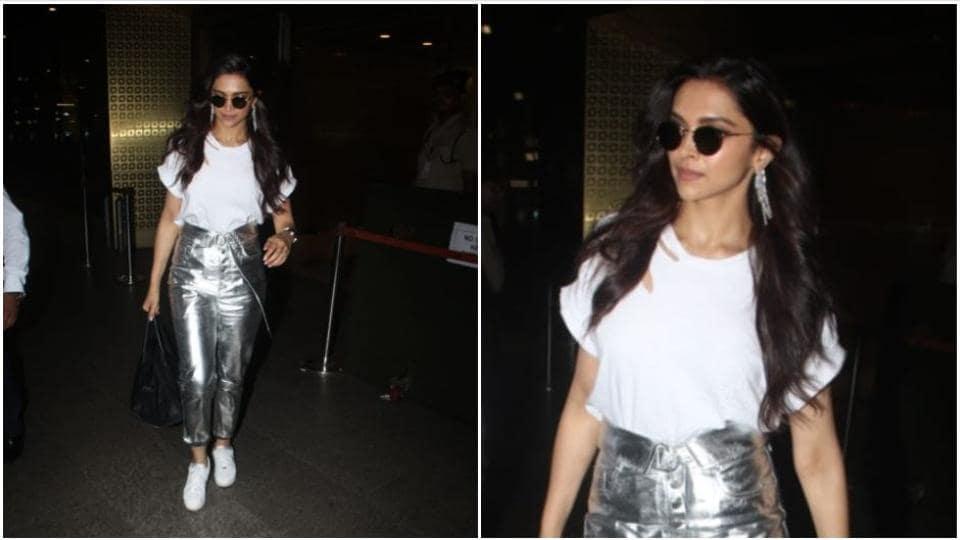 Deepika Padukone at the Mumbai airport.
