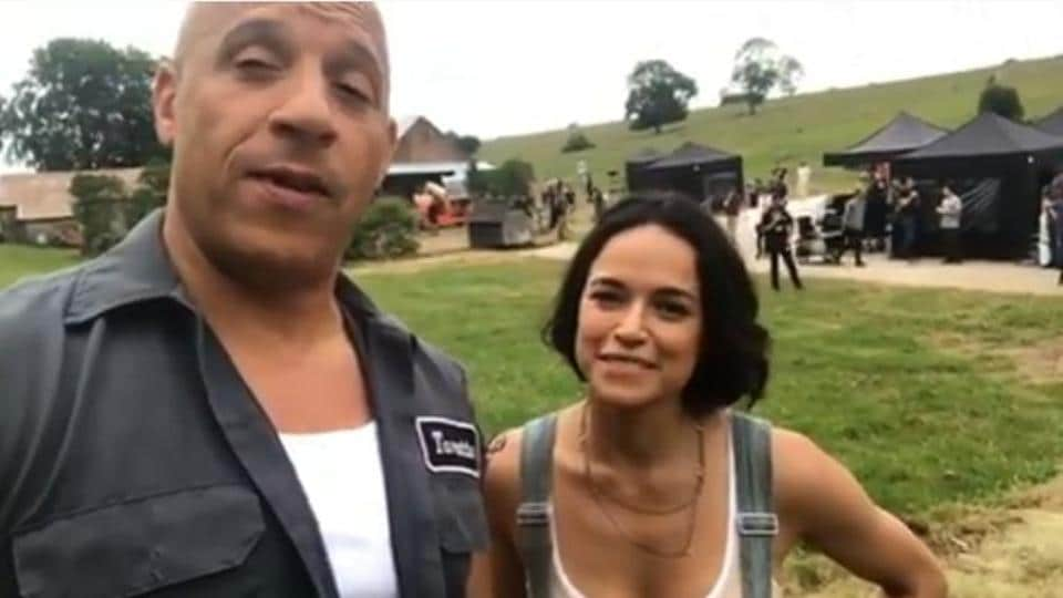 Vin Diesel and Michelle Rodriguez on sets of Fast and Furious 9.