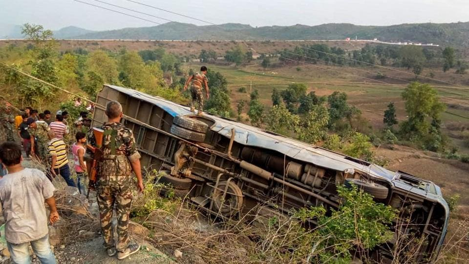 At least six people were killed and forty-three injured after a bus fell into a gorge of Annaraj Valley in Jharkhand's Garhwa district during early hours on Tuesday. Officials told ANI that dead bodies of six passengers have been retrieved from the gorge while some are still stuck inside the bus. The sleeper bus departed from Chhattisgarh and was travelling towards Garhwa. (PTI)