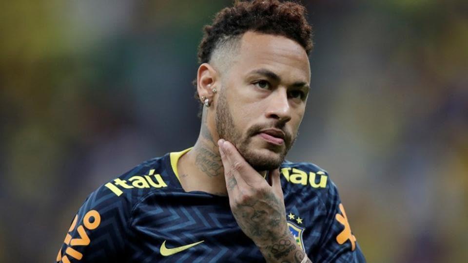 Brazil's Neymar during the warm up.