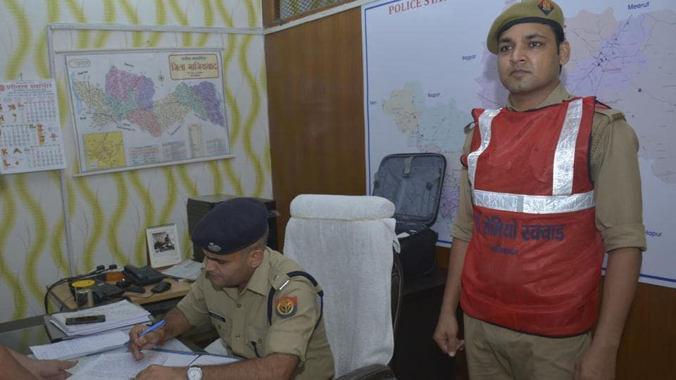 A Ghaziabad police personnel seen wearing special anti-romeo squad jacket,  June 24, 2019.Pink letters boxes will also be put up at schools and colleges for women and minors to anonymously drop in their complaints to police without revealing their identities.