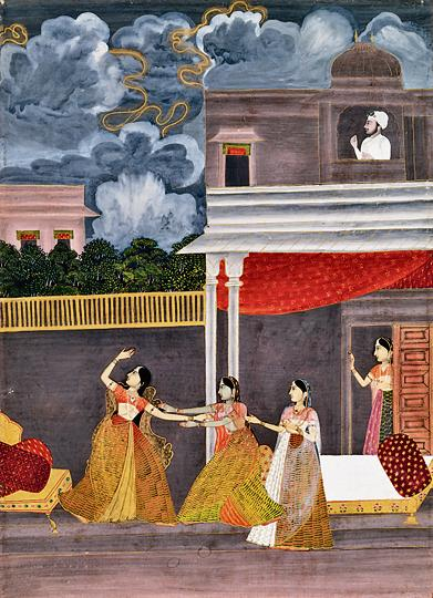 This Ragamala painting depicts a woman travelling to meet her lover at night as clouds hover in the sky.