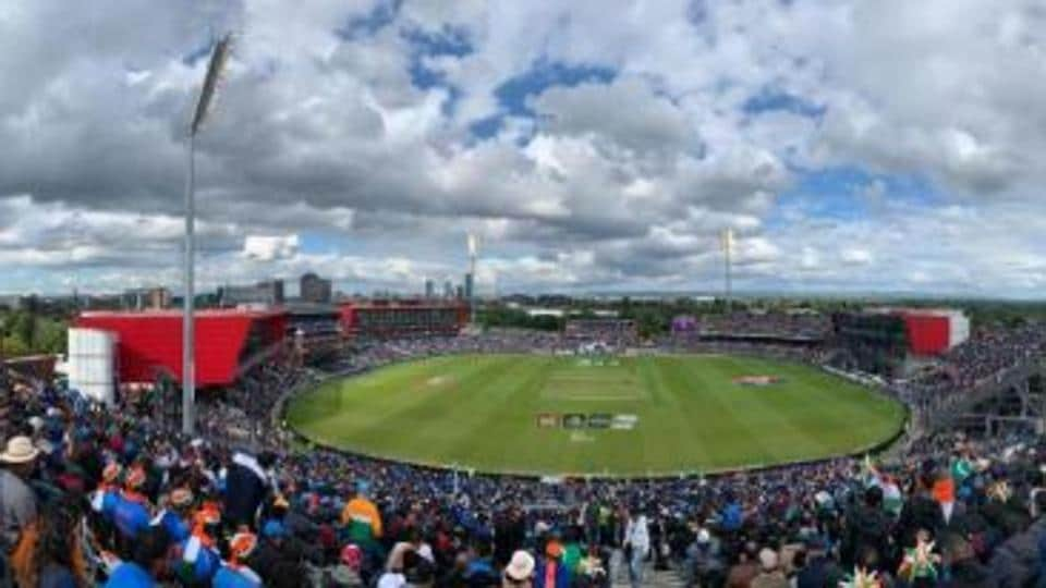 Aerial view of Old Trafford cricket stadium in Manchester.