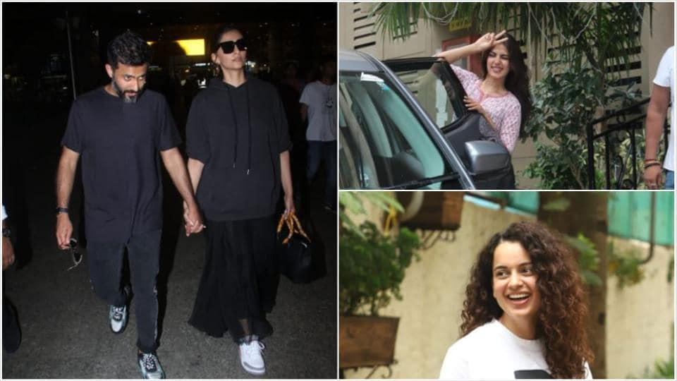 Sonam Kapoor with Anand Ahuja at the airport, Rhea Chakraborty spotted outside Sushant Singh Rajput's home and Kangana Ranaut at a meeting.