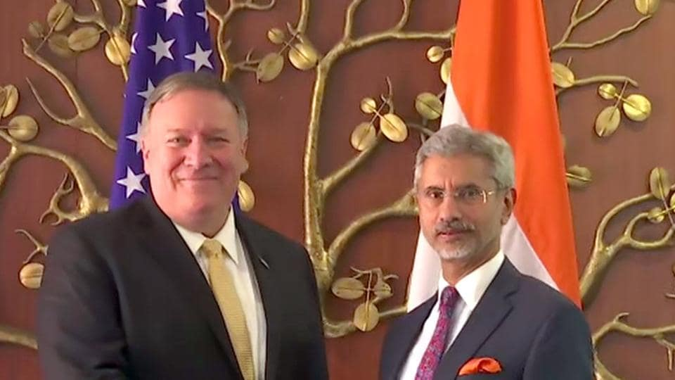 External Affairs Minister S Jaishankar meets United States secretary of state Mike Pompeo in New Delhi on Wednesday.