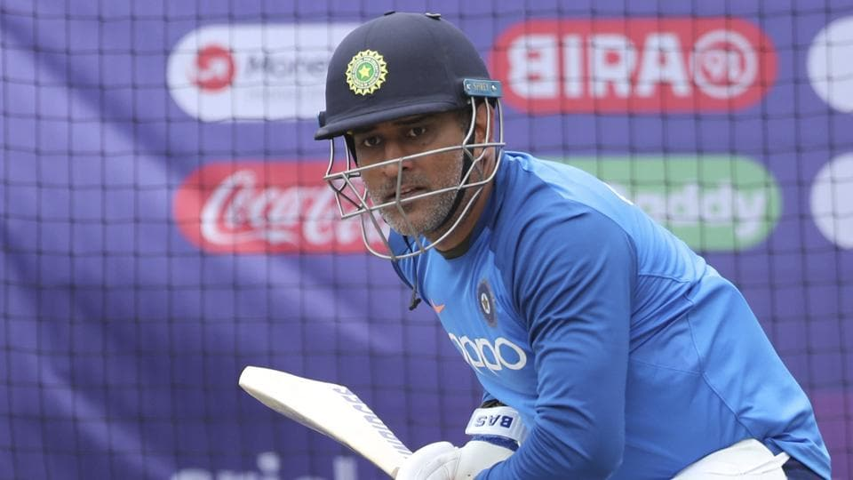 MS Dhoni bats in the nets during a training session ahead of their clash against West Indies at Old Trafford.