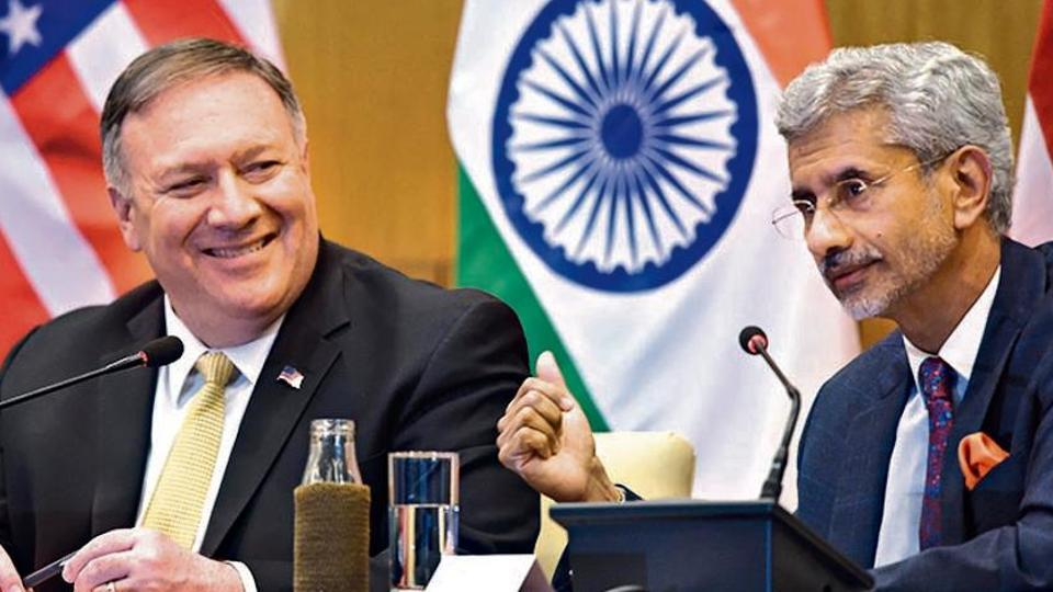 US Secretary of State Mike Pompeo with Union external affairs minister Subrahmanyam Jaishankar during a press conference in New Delhi on June 26, 2019. (Photo: Arvind Yadav/HT)