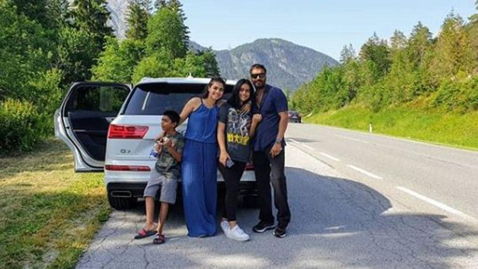 Kajol and Ajay Devgn are off on a road trip with their kids
