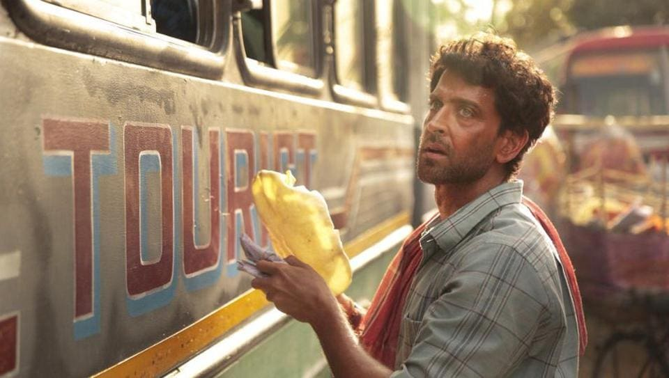 Hrithik Roshan selling papads in a still from Super 30.