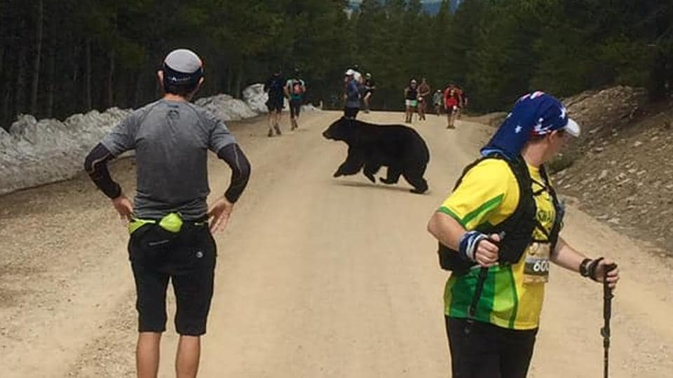 One of the runners noticed the bear running along the trail.
