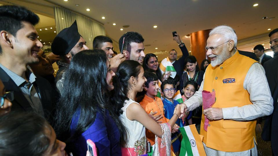 Prime Minister Narendra Modi reached Osaka, Japan today where he will be attending the G20 summit. Members of the Indian community welcomed Modi who later had a bilateral meet with Prime Minister of Japan Shinzo Abe on the sidelines of the summit, the first of 10 such meetings with world leaders, including one with Turkish President Recep Tayyip Erdogan. (ANI)