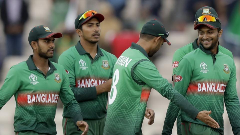 File image of players of the Bangladesh cricket team walking off the pitch after the end of a match.