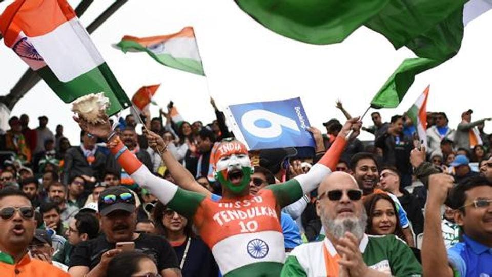 Fans react during India's match against Pakistan in the 2019 ICC World Cup in Manchester.