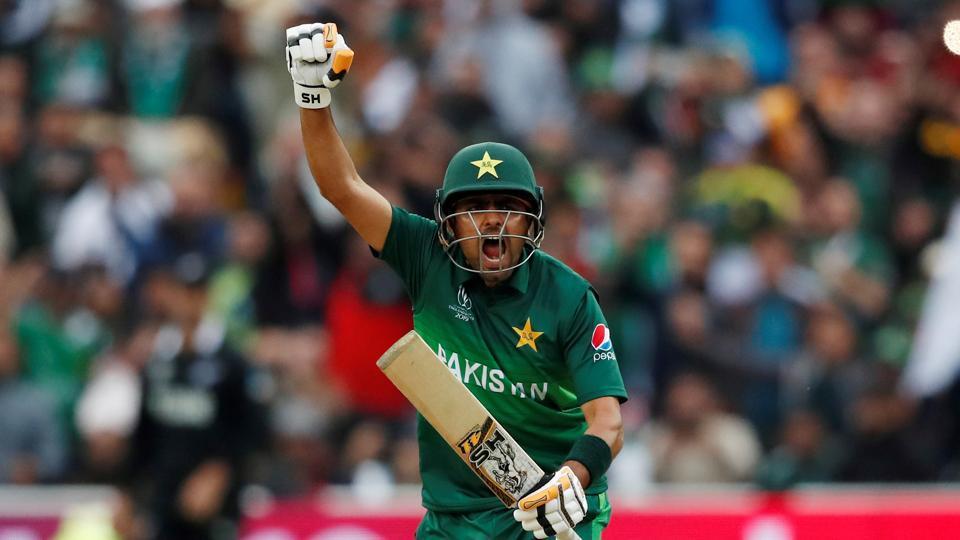 ICC Cricket World Cup - New Zealand v Pakistan - Edgbaston, Birmingham, Britian - June 26, 2019 Pakistan's Babar Azam celebrates a century