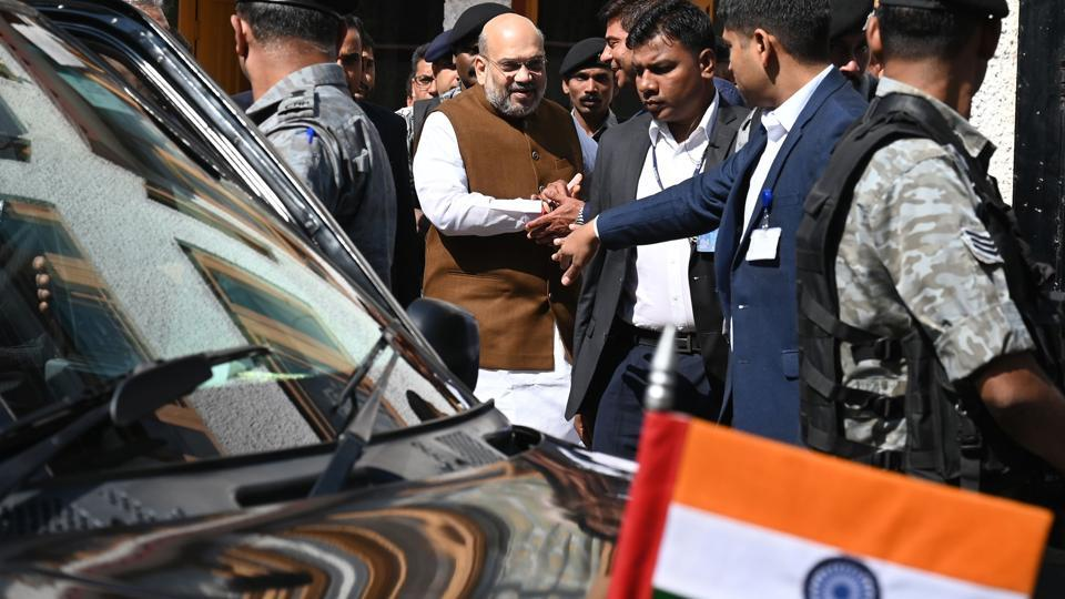Home Minister Amit Shah leaves after visiting family members of a slain police officer Arshad Khan, who was killed during attack by militants in Anantnag in south of Srinagar, in Srinagar on June 27, 2019.
