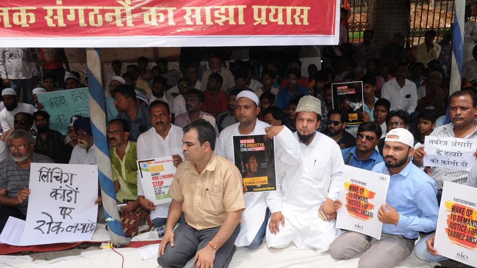 Members of different political parties and social organisations staging a dharna  in protest against the lynching of a youth,  Ranchi,  on Wednesday, June 26, 2019.