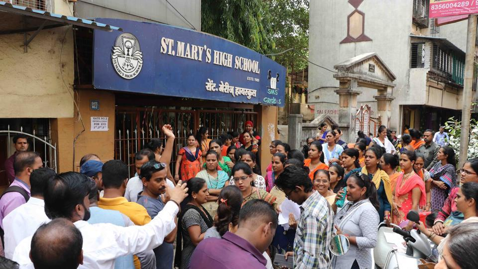 Parents of St Mary's School students  were protesting a 15% fee hike and an alleged assault by teachers against two students.