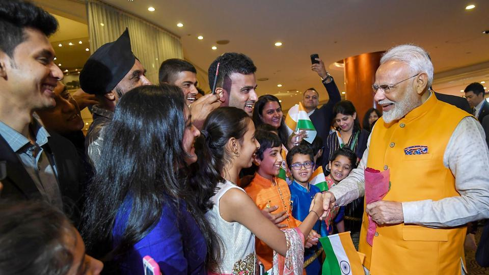 Prime Minister Narendra Modi is welcomed by the Indian community on his arrival, to attend the G-20 Summit, in Osaka, Japan, on June 27, 2019.