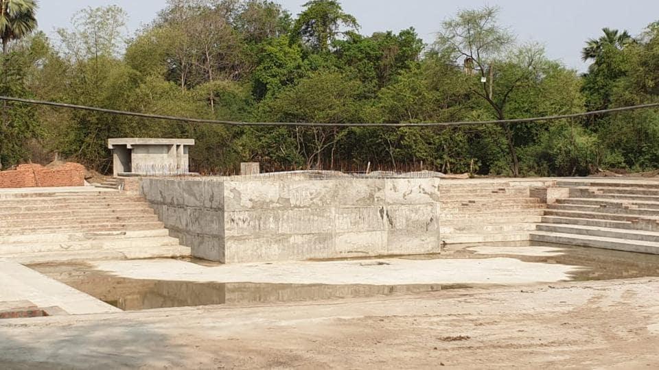 Construction under way to develop Pt Deen Dayal Upadhyay Memorial Centre on Varanasi-Chandauli border.