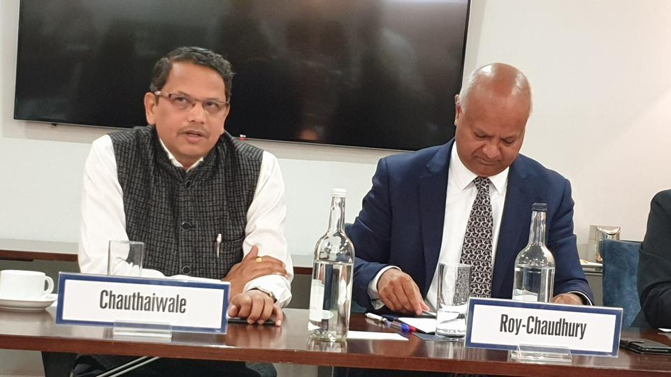 Vijay Chauthaiwale, head of the BJP's foreign affairs cell, and Rahul Roy-Chaudhury, senior fellow for South Asia, during an interaction with academics, diplomats and policy experts at the International Institute for Strategic Studies in London on Friday. HT Photo.