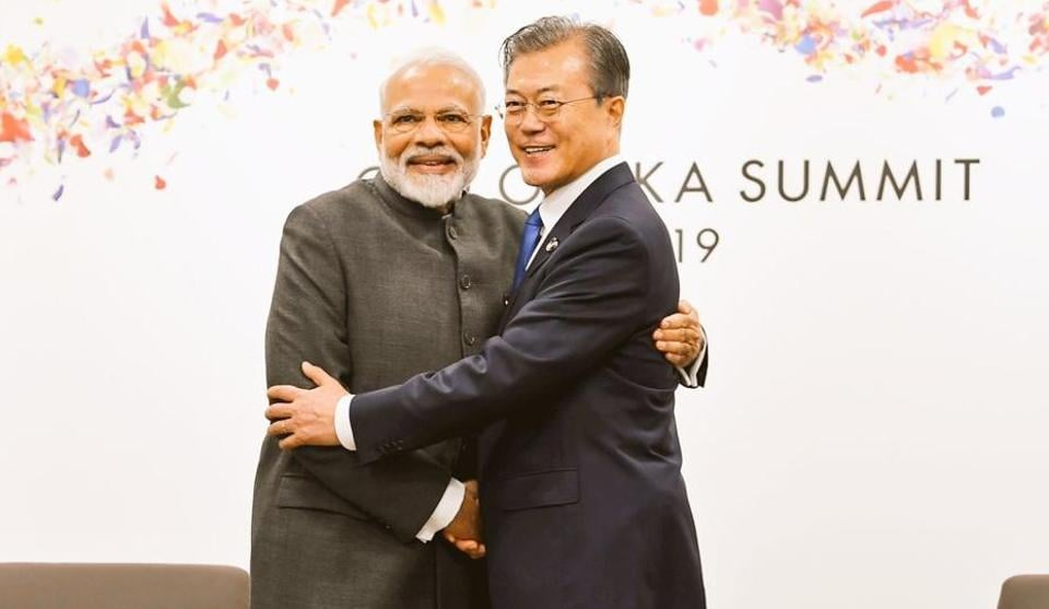Prime Minister Narendra Modi on Friday met South Korean President Moon Jae-in and discussed ways to enhance trade, economic and people-to-people relations.