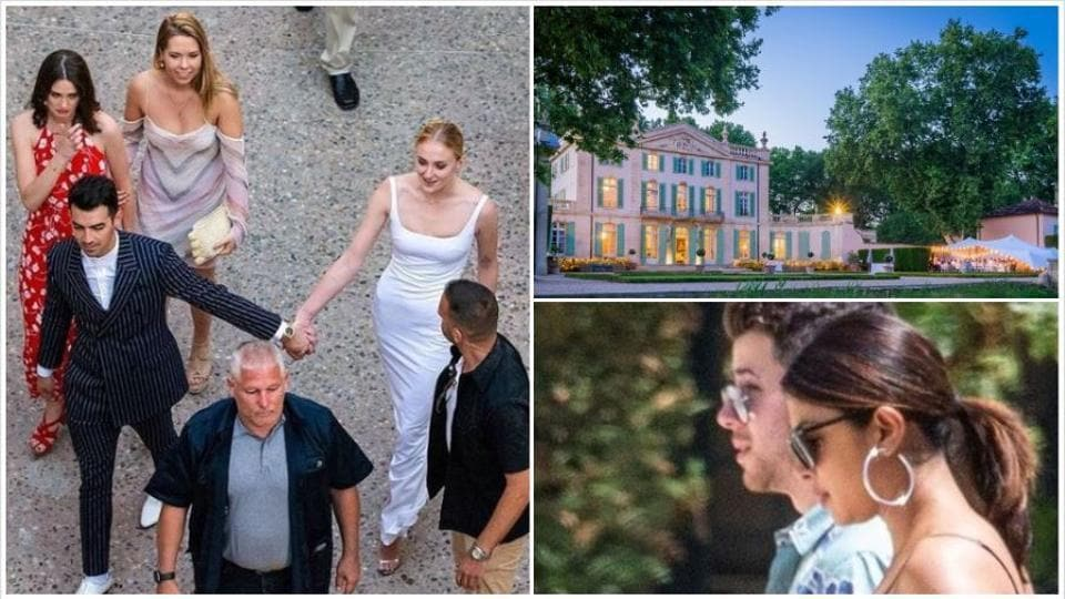 Joe Jonas and Sophie Turner at their wedding venue.