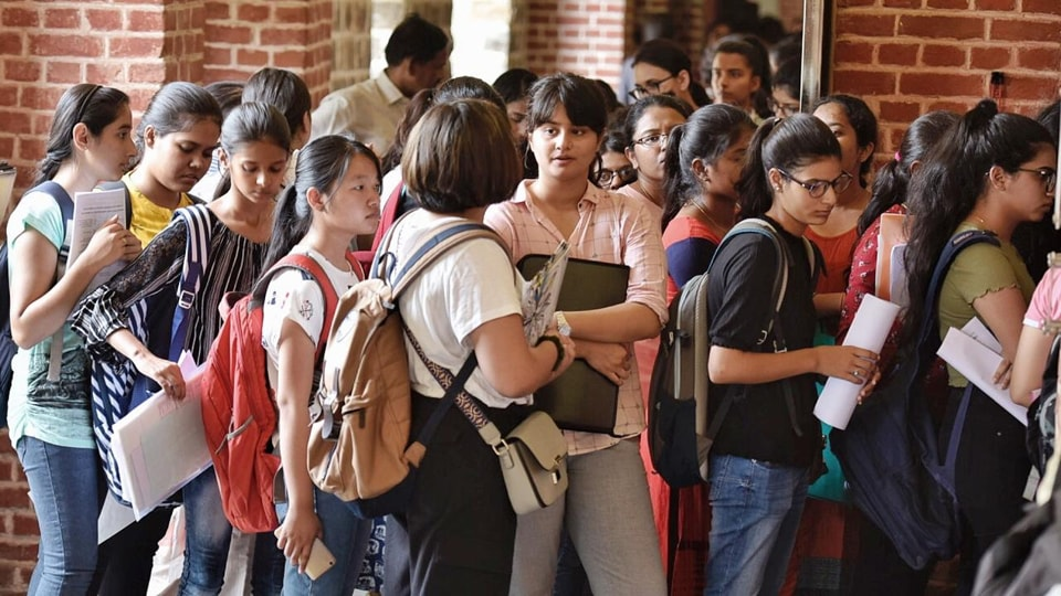 Students at DU's Miranda House College, June 28, 2019.  Delhi University had received around 5.19 lakh applications for English, Political Science, History, and BA Programme course.