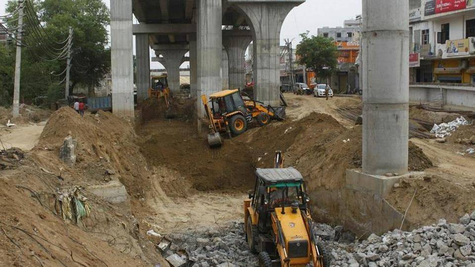 An under-construction underpass at Bajghera. Officials said that five of the six flyovers to be completed are located in Gurugram.