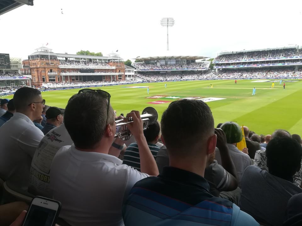 The Barmy Army watching World Cup a match