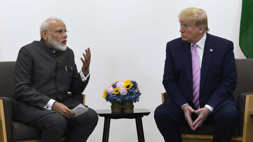 USPresident Donald Trump meets with Indian Prime Minister Narendra Modi during a meeting on the sidelines of the G-20 summit in Osaka, Japan