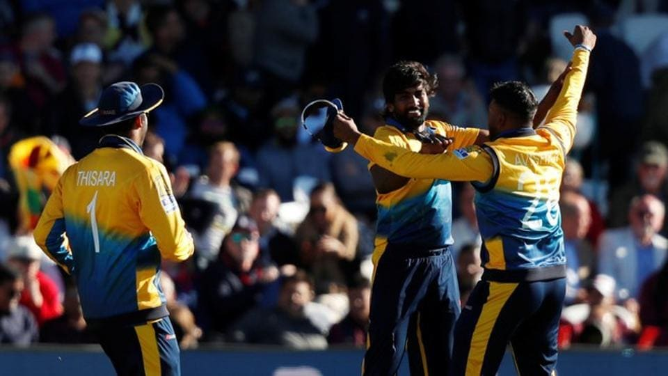 Sri Lanka's Nuwan Pradeep celebrates with team mates after taking the wicket of England's Mark Wood and winning the match Action Images via Reuters/Lee Smith