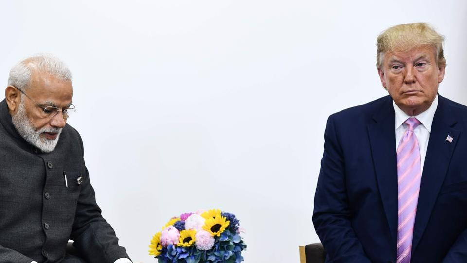 India's Prime Minister Narendra Modi attends a meeting with US President Donald Trump during the G20 Osaka Summit.
