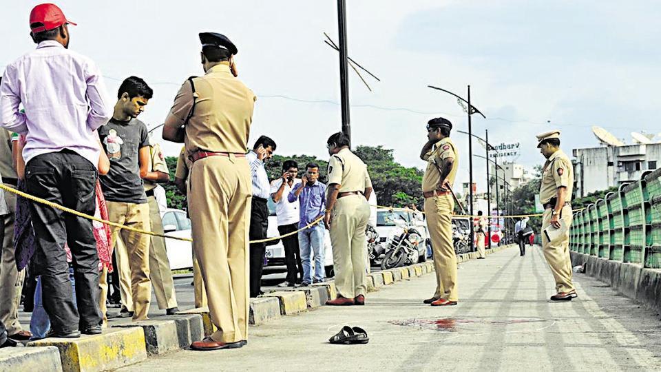 The spot on Maharshi Vitthal Ramji Shinde bridge, Shivajinagar, where Narendra Dabholkar was shot dead in August 20, 2013.