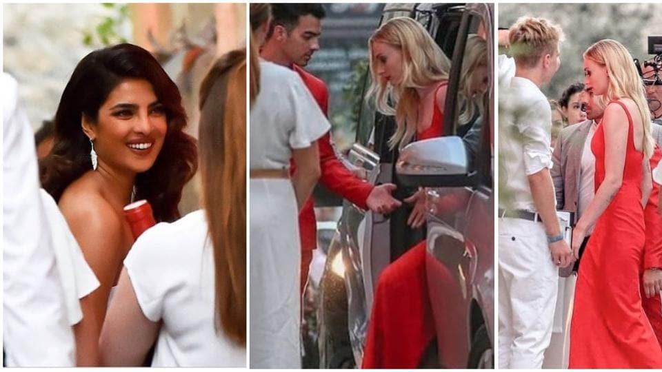 Priyanka Chopra wore a white dress while Sophie Turner and Joe Jonas chose red attires for the dinner.