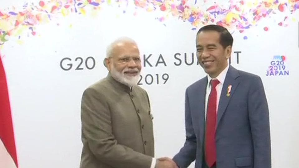 Prime Minister Narendra Modi holds a bilateral meeting with Indonesian President Joko Widodo in Osaka