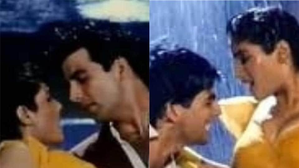 Akshay Kumar and Raveena Tandon in stills from Tip Tip Barsa Paani from Mohra.
