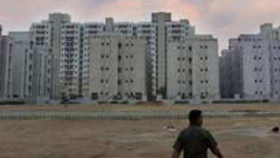 A view of the market inside Delhi Development Authority (DDA) Flats at Narela in New Delhi.