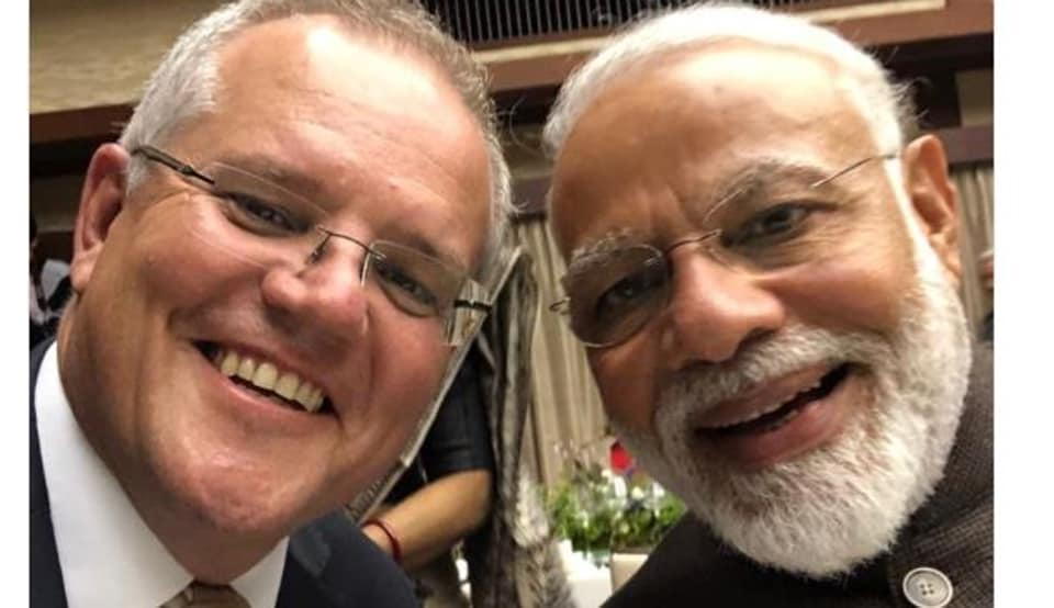 Australian Prime Minister Scott Morrison on Saturday tweeted a selfie with his Indian counterpart to mark their meeting.