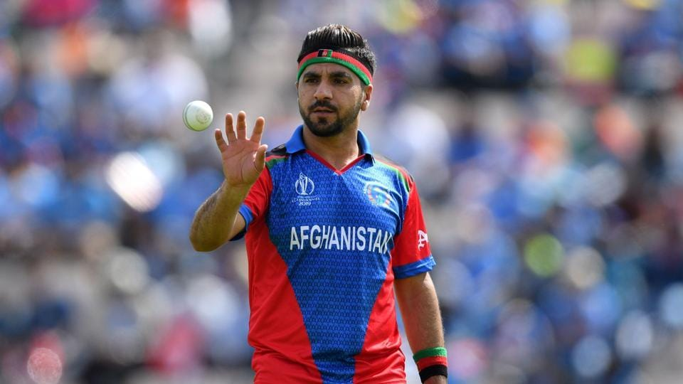 Afghanistan's Aftab Alam prepares to bowl during the 2019 Cricket World Cup group stage match between India and Afghanistan at the Rose Bowl in Southampton, southern England, on June 22, 2019.